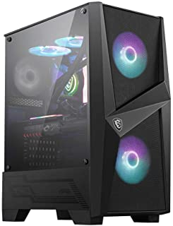 MSI MAG FORGE 100R Mid-Tower - Caja de PC Gaming (2 x 120 mm RGB + 1 x 120 mm Ventiladores Incluidos, Panel Cristal Templado, ATX, mATX, Mini-ITX), negro