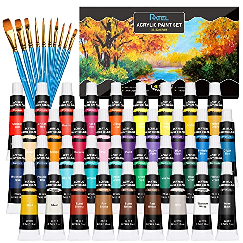 Acrylic Paint Set, RATEL 36 tubes of Premium Acrylic Paint Box, 36 x 22 ml Acrylic Pigment, Non Toxic, Blendable, Waterproof, Acrylic Paint for Paper, Stone, Wood, Ceramic, Fabric, Crafts