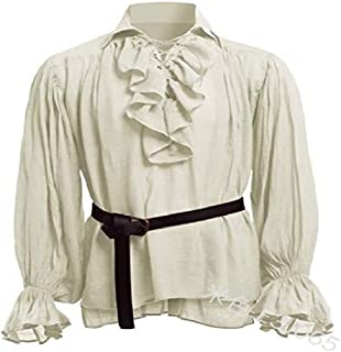 Howely Men Court Style Medieval Solid Colored Blouse Trim-Fit Tunic Shirt