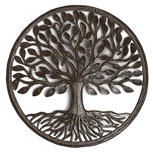"Steel Drum Organic Tree of Life Recycled Metal Art from Haiti, Decorative Wall Hanging 23"" X 23"""