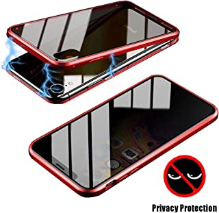FUNIT for iPhone 6 iPhone 6s Privacy Screen Protector, Magnetic Metal Glass Flip Case Tempered Glass Clear Touchable HD Full Body Protection Cover for iPhone 6/6s (Red)