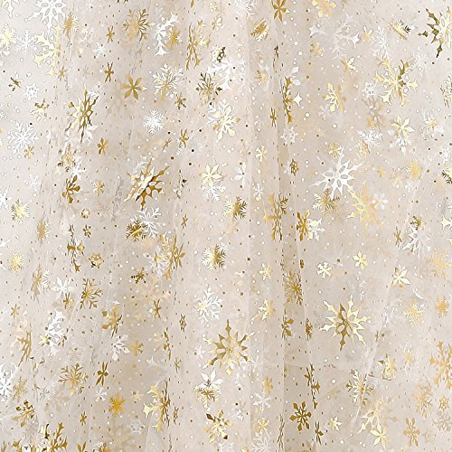 Deconovo DIY Christmas Tree Skirt Sheer Tablecloth Room Decoration Organza Glittering Shining Fabric for Party Decorations Christmas Various Snowflake Gold Foil 59 Inch by 118 Inch