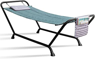Sorbus Hammock Bed with Stand, Features Deluxe Pillow and Storage Pockets, Heavy Duty, Supports 500 Pounds, Great for Patio,