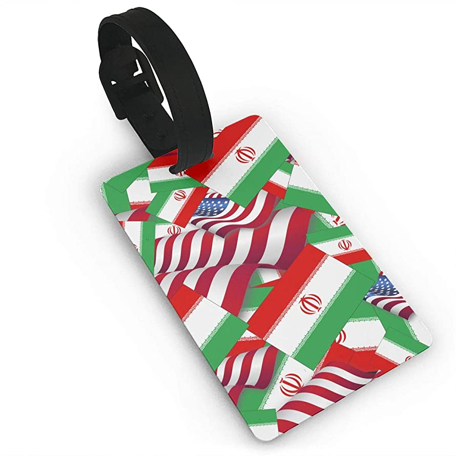 YGXDPM Iran Flag with America Flag Luggage Tag Suitcase Labels Bag Travel Accessories ID Cards for Luggage Baggage Travel Identifier