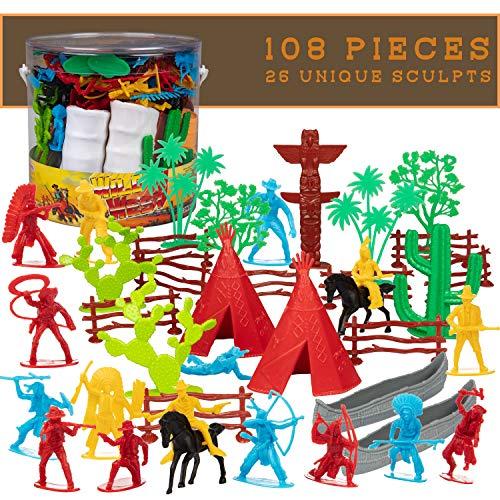 SCS Direct Wild Wild West Cowboys & Indians Toys Action Figure Playset -26 Unique Sculpts- 108 Pieces of Cowboy and Indian Figures & Accessories