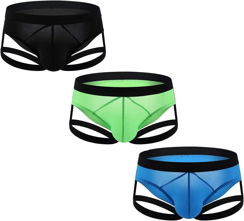 Andongnywell 3 Pack Men's Breathable Thongs Men's Underwear ice Silk Briefs Panties Underpants Knickers Panties