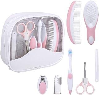 7pcs/Set Baby Care Kits Grooming Care Deep Sleep Safe Health Care kit Infant Daily Nurse Tool Hair Brush Nail Scissors Hot Pink