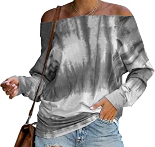 Miracle Women Summer Tie Dye Printed Off The Shoulder Tops Loose Short Sleeve Blouses T-Shirts
