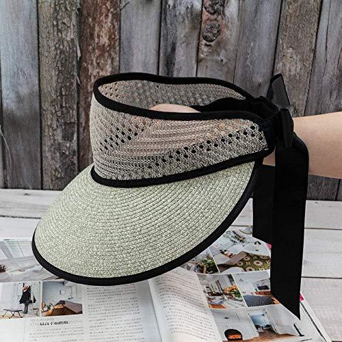 ZKZK Cappello da Sole Versione Femminile Estiva Coreana del Selvaggio Cappello Selvaggio Superiore Vuoto Paglia Grande ombrellone Protezione Solare Grande gronda Cappello di Spiaggia Pieghevole