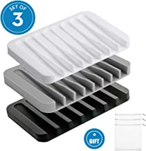 Bigbigjk 3 Pcs Bar Soap Holder, Soap Dish for Shower Soap Holder Shower Bathroom Kitchen, Shower Soap Dish with Drain, Anti-Slip Design, Easy Cleaning,Prevent Melting, Black,White,Grey