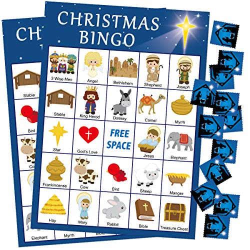 Nativity Christmas Bingo Game 24 Players for Kids Religious Christmas Craft Classroom Supply
