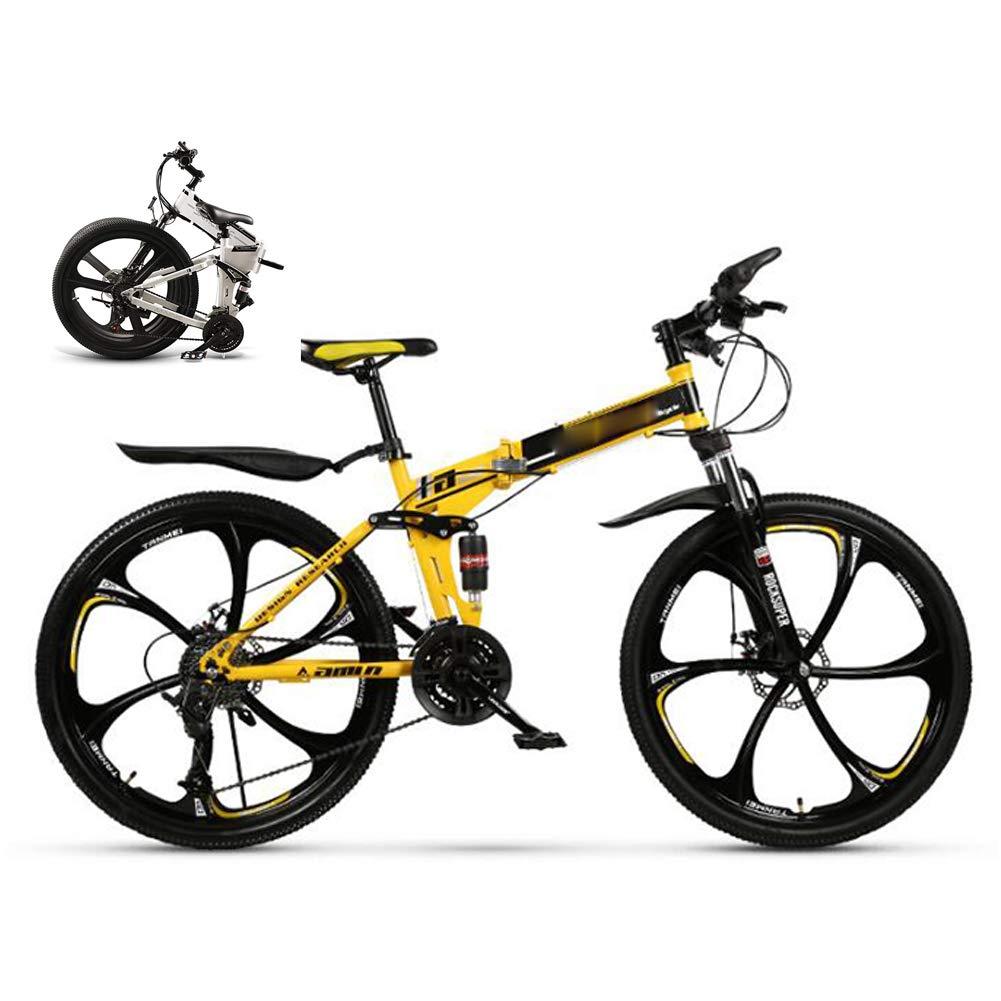 Plegable Bicicleta Montaña Hombre Mujer,Bike Bici Ruedas de 26 pulgadas Doble disco de freno 21 Velocidades Bicicleta De Trekking Absorción de Impactos para Estudiantes Adultos Mountain Bike,Amarillo: Amazon.es: Deportes y aire libre