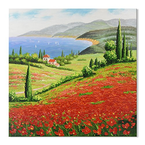 7 Fision Art Hand Painted Landscape Abstract Field Red Tuscany II Stretched and Framed Prints Oil Paintings on Canvas Wall Ready to Hang for Bedroom Kitchen Home Decor 32x32 Inch