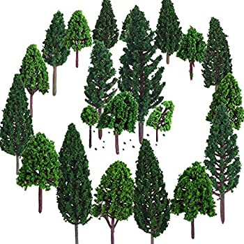 Bememo 22 Pieces Model Trees 1.18 - 6.29 inch Mixed Model Tree Train Trees Railroad Scenery Diorama Tree Architecture Trees for DIY Scenery Landscape Natural Green