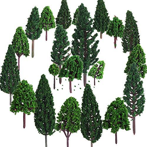 22 Piezas de Modelo de Árbol 3 - 16 cm de Árboles de Modelo Mezclados Árboles de Tren Árbol Diorama de Paisaje de Ferrocarril Árboles de Arquitectura para DIY Paisaje, Verde Natural