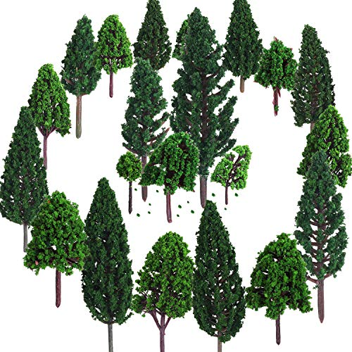 Bememo 22 Pieces Model Trees 3 - 16 cm Mixed Model Tree Train Trees Railroad Scenery Diorama Tree Architecture Trees for DIY Scenery Landscape, Natural Green