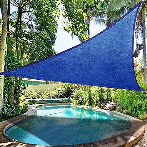 XISENOCI Parasol Triangular, toldo de protección Solar 95% Anti-UV Impermeable, Velo de Sombra, Piscina Exterior, jardín, Patio, Diferentes tamaños, Azul-2.4X2.4X2.4m