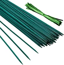Pllieay 50 PCS Green Wood Plant Stake Floral Plant Support W