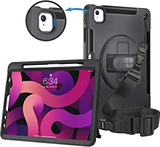 iPad Air 4th Generation 2020 Case 10.9 inch with Pencil Holder + Shoulder Strap + Handle Rotating Stand, Military-Grade He...