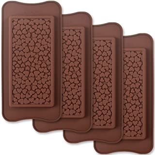 ionEgg Break Apart Silicone Chocolate Molds, Heart Shape Chocolate Bar Molds, Homemade Protein and Energy Bar Molds, 4 Packs