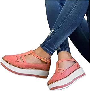 Women's Platform Wedge Sandals, Espadrilles Round Toe Hollow Out Flatform Sandals, Arch Support PU Flat Sandal Buckle Ankle Strap Casual Beach Sneakers,C,38
