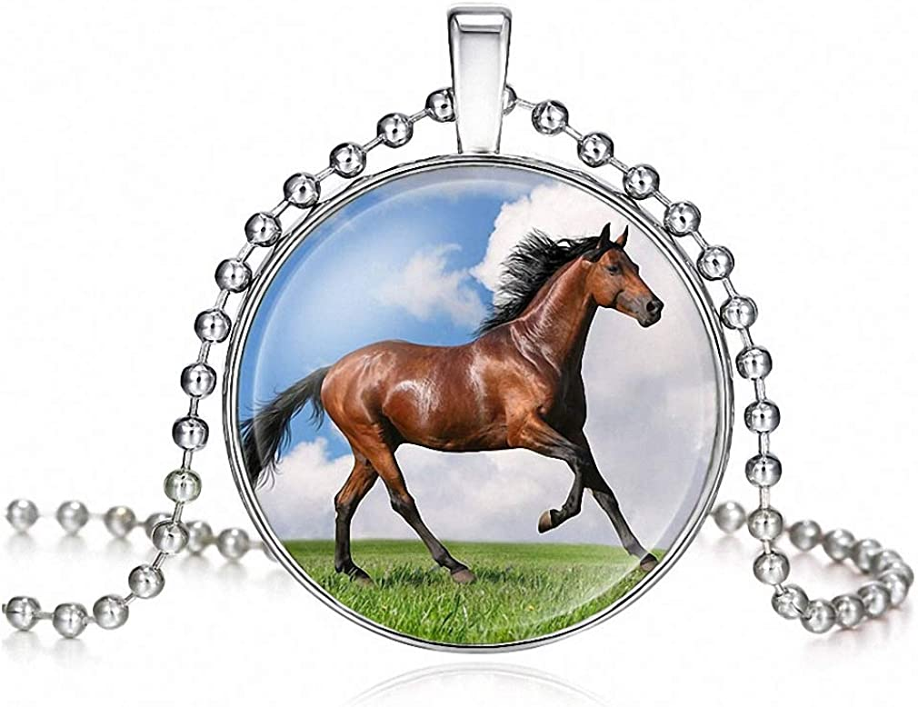 Tebapi Womens Pendant Necklace Girls Running Horse Painting Necklace Women Horse Necklace Pendant Statement Glass Cabochon Necklaces Jewelry Gift