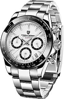 Pagani Design - Orologio da polso analogico da uomo, al quarzo, con cronografo, impermeabile, sportivo, cinturino in accia...