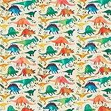 Softshell bunte Dinos – hellgelb/grasgrün — Meterware