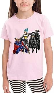 Cute Cotton Toddler Ve-Geta Vs Batm-an A-nd Super-Man T Shirt Pink