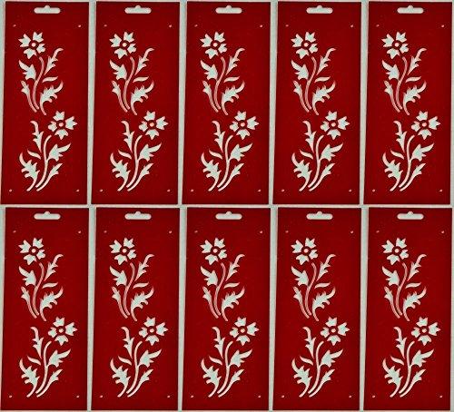 Bordüren-Schablone Motiv Blume 10 Stück ca. 11 cm x 27,5 cm