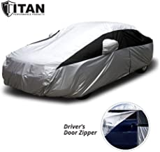 Titan Lightweight Car Cover for Toyota Camry, Mustang, and More. Waterproof Car Cover Measures 200 Inches, Comes with 7 Foot Cable and Lock. Features a Driver-Side Zippered Opening for Easy Access.