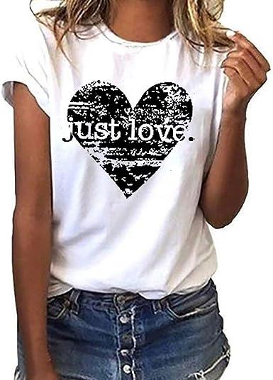 Camiseta Mujer algodón Tallas Grandes Verano Camisetas con ...