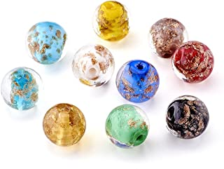 Craftdady 20Pcs Lampwork Glass Round Spacer Beads 12mm Random Mixed Colors Handcrafted Glass Charm Ball Beads with Gold Sand for DIY Jewelry Making Hole: 2mm