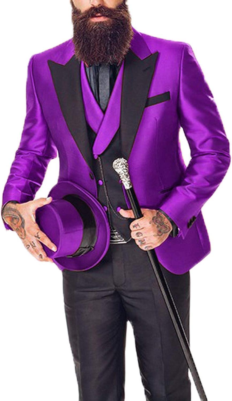 Everbeauty 3 Piece Suits for Men Slim Fit Tuxedo for Mens Wedding Attire Formal Outfit Blazer EXZ031