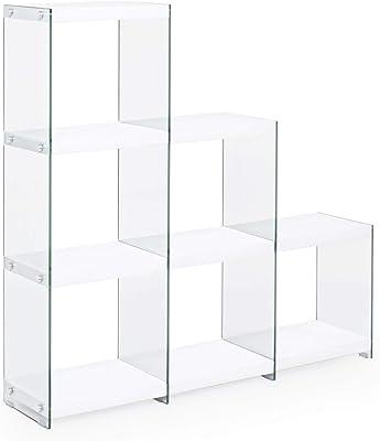 ARREDinITALY Estantería de escalera con laterales de cristal ...
