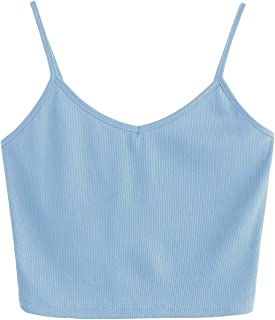 Women's Casual V Neck Sleeveless Ribbed Knit Cami Crop Top