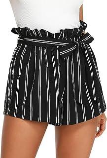 Sunnywill Damen Hosen Shorts Hosen Damen Sommer Sport Stretch Slim Fit Stripe Print Elastisch Kurze Hosen Beach Shorts Elegan Strandshorts Sporthose