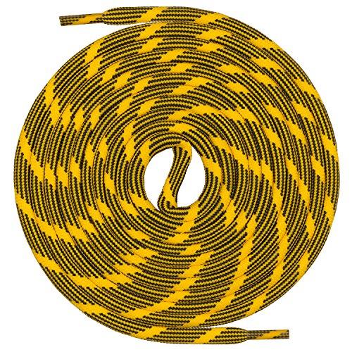 Mount Swiss runde Schnürsenkel für Wanderschuhe, Trekkingschuhe und Arbeitsschuhe - extra reißfest - ø 5 mm Farbe Gelb-Schwarz-m2 Länge 120cm