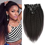 Kinky Straight Clip In Hair Extensions Human Hair For Black Women 7pcs/set Kinky Straight Hair Clip Ins Natural Hair Coarse Yaki Clip In Human Hair Extensions Double Weft (12inch-70g,Natural Color)