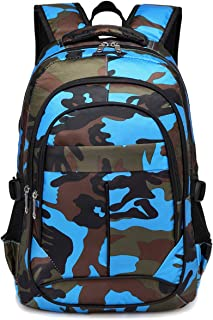 BLUEFAIRY Kids Backpacks For Boys Primary School Bags for Girls Camouflage Print Bookbag (Camo Blue)