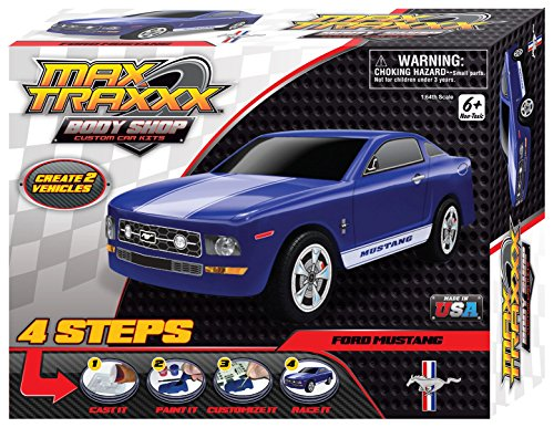 Max Traxxx Award Winning Body Shop PerfectCast Ford Mustang Car Cast, Paint and Play Craft Kit