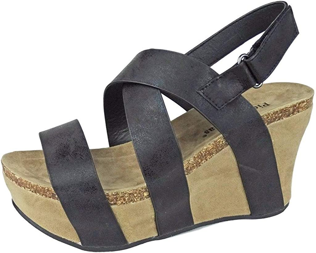 Pierre Dumas Women's Hester-5 Vegan Leather Gifts Wedge Sandal Free shipping Strappy