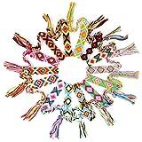 MEJOSER 14 Pulseras Trenzadas de la Amistad Tejidas de Hilo Ancho 1,5cm Brazaletes Hechos a Mano de Colores Mujer Hombre para Muñeca Tobillo Fiesta