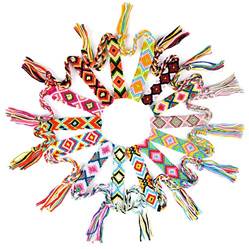 MEJOSER 14 Pulseras Trenzadas de la Amistad Brazaletes Tejidas de Hilo Ancho 1,5cm Color Aleatorio Hechos a Mano de Colores Mujer Hombre para Muñeca Tobillo Fiesta