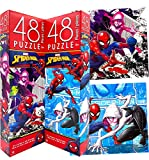 Marvel Superheroes Spiderman Jigsaw Tower Puzzles - Pack of 2 (Total 96pcs), Preschool Educational Challenge Learning Toys for Healthy Brain Development for Kids Toddlers Boys