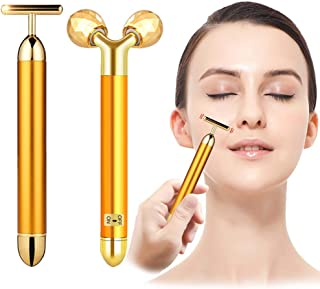 2-IN-1 Beauty Bar 24k Golden Pulse Facial Face Massager, Electric 3D Roller and T-Shape Face Roller Massage Kit Forehead Cheek Neck Arm Eye Nose Massager for Skin Face Pull Tight Firming Lift