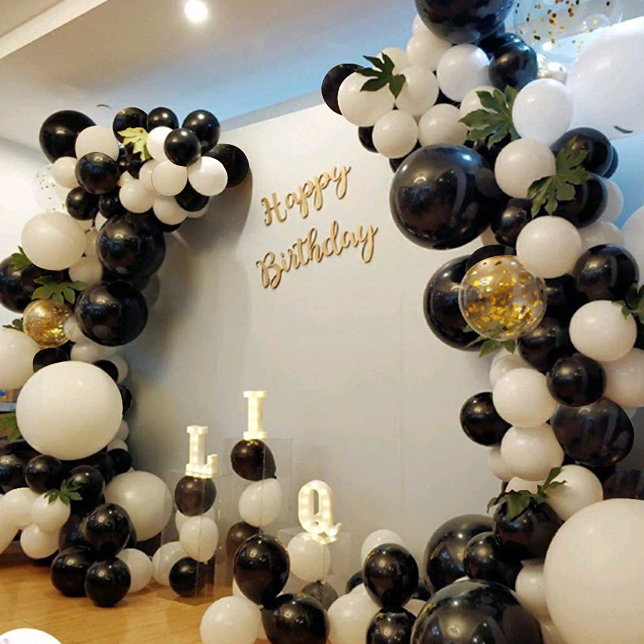 Graduation Party Decoration 130Pcs10In Black and White Balloon Garland Arch Kit,Green Turtle Leaves,Inflator Pump,Birthday, Wedding,Baby Shower,Corporate Events, Bachelor Party,Photo Background