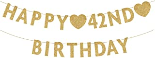 Gold Happy 42nd Birthday Banner, Glitter 42 Years Old Woman or Man Party Decorations, Supplies