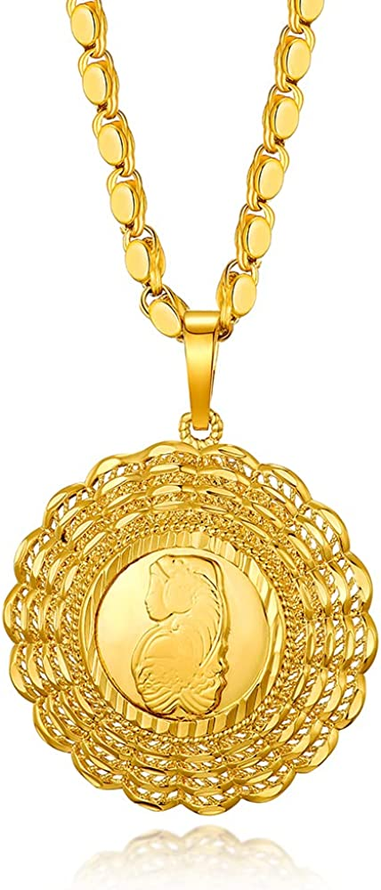 Goddess of wealth 24K Gold Plated Lucky Women Pendant Necklace Handmade Chain Prosperity Jewelry
