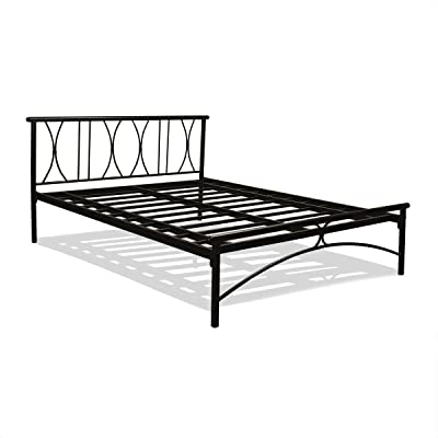 FurnitureKraft Double Size Metal Bed (Carbon Steel - Black)